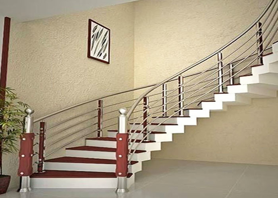 China Curved Stainless Steel Railing / Interior Metal Stair Railing Good Horizontal Load Resistance supplier